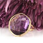 20.51ct Fancy Shaped Rose Cut Amethyst and Diamond Right-Hand Ring