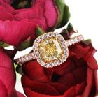 1.52ct Fancy Light Yellow Cushion Cut Diamond Engagement Ring