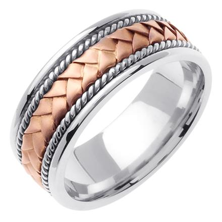 Mens Hand Braided Two Tone Wedding Band In 18k Rose And White Gold 85mm