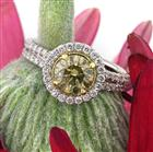 2.49ct Fancy Brown Green Yellow Round Brilliant Cut Diamond Engagement Ring