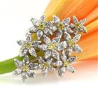3.77ct Fancy Yellow Marquise and Round Brilliant Cut Diamond Right-Hand Ring