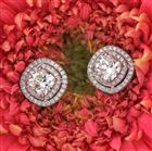 1.23ct Cushion Cut Halo Diamond Halo Earrings