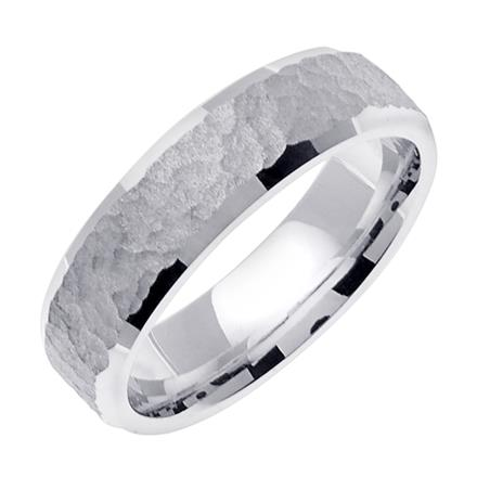 mens simply hammered wedding band in platinum 60mm