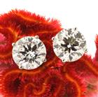 4.10ct Round Brilliant Cut Diamond Stud Earrings
