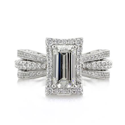 2 76ct emerald cut engagement ring