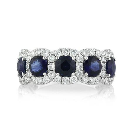 Round Cut Sapphire And Diamond Right Hand Ring