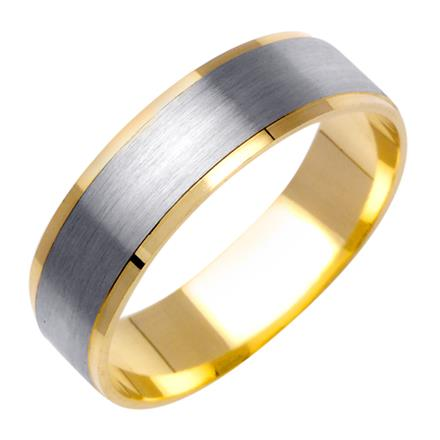 Mens TwoTone Satin Finish Wedding Band in 18k Yellow and White
