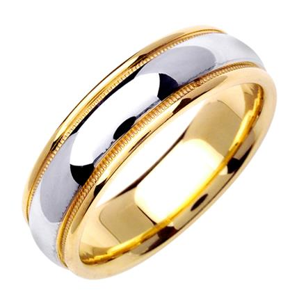 Mens TwoTone Domed Wedding Band in 18k Yellow and White Gold 65mm