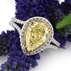 3.45ct Fancy Light Yellow Pear Shaped Diamond Engagement Ring