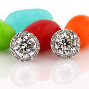 2.20ct Round Brilliant Cut Diamond Stud Earrings | Mark Broumand