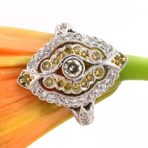 1.25ct Fancy Yellow Round Brilliant Cut Diamond Right-Hand Ring