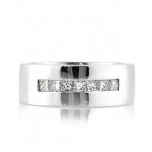Minimalist Fashion and Investments - 0.70ct Princess Cut Diamond Men's Wedding Band | Mark Broumand