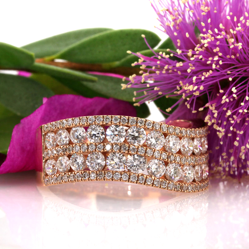 1.85ct Round Brilliant Cut Diamond Rose Gold Band | Mark Broumand