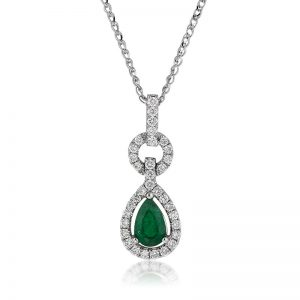 1.06ct Pear Shaped Emerald and Diamond Pendant