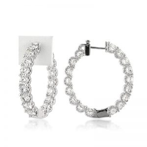 11.55ct Round Brilliant Cut Diamond Hoop Earrings | Mark Broumand