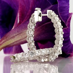 3.50ct Round Brilliant Cut Diamond Hoop Earrings | Mark Broumand