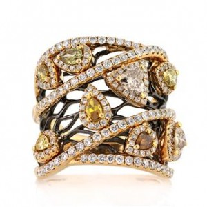 Custom Diamond Ring Mark Broumand 2.80ct Fancy Color Pear Shaped and Trillion Cut Diamond Right-Hand Ring