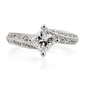 Princess Cut Engagement Ring Solitare with Accent Stones