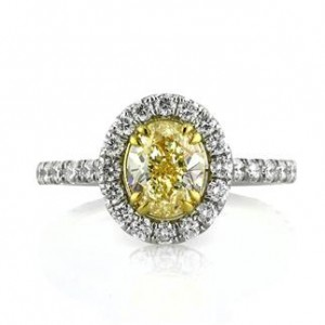 Fancy Intense Yellow Oval Cut Diamond Engagement Ring | Mark Broumand
