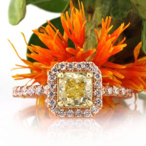 1.72ct fancy intense yellow radiant cut diamond engagement ring | Mark Broumand