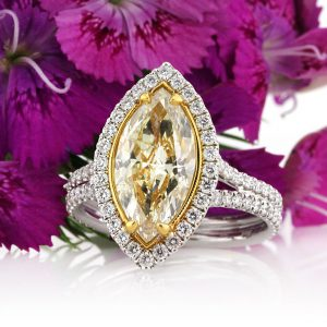 3.40ct fancy light yellow marquise cut diamond engagement ring | Mark Broumand