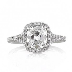 Antique Cushion Cut Diamond Engagement Ring | Mark Broumand