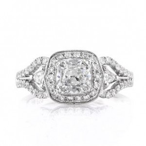 Antique Cushion Cut Diamond Ring | Mark Broumand