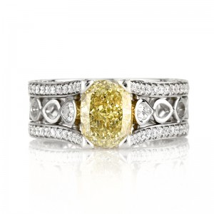 Cushion Cut Yellow Diamond Engagement Ring