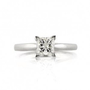 01ct Princess Cut Diamond Solitaire Engagement Ring | Mark Broumand