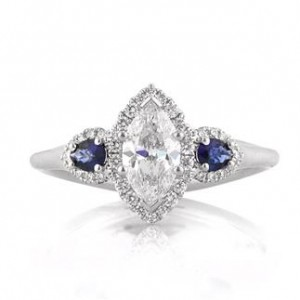 1.66ct Marquise Cut Diamond and Sapphire Engagement Ring | Mark Broumand