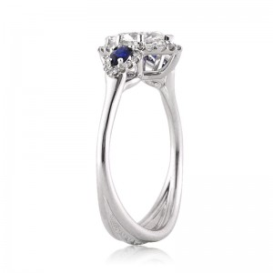 1.66ct Marquise Cut Diamond and Sapphire Engagement Ring Side View | Mark Broumand