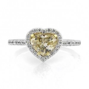 1.71ct Fancy Light Yellow Heart Shaped Diamond Engagement Ring | Mark Broumand