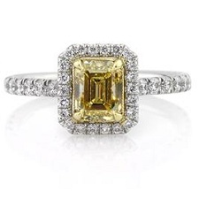 1.95ct Fancy Intense Yellow Emerald Cut Diamond Engagement Ring | Mark Broumand