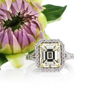 5.05ct Fancy Light Brown Green Yellow Emerald Cut Diamond Engagement Ring