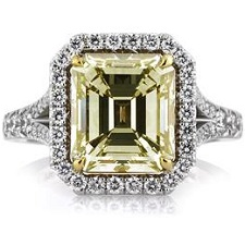 5.05ct Emerald Cut Fancy Yellow Diamond Ring | Mark Broumand