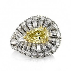 8.15ct Fancy Intense Yellow Pear Shaped Diamond Engagement Ring | Mark Broumand