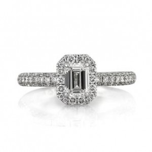 1.56ct Emerald Cut Diamond Halo Ring | Mark Broumand