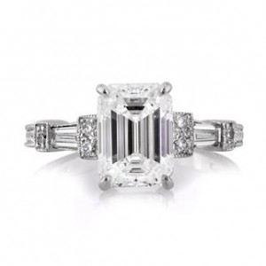 2.61ct Emerald Cut Diamond Three Stone Ring | Mark Broumand