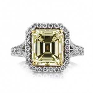 Fancy Yellow Emerald Cut Diamond Halo Ring | Mark Broumand