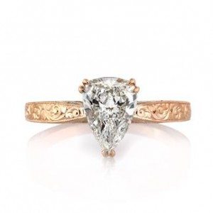 Rose Gold Pear Shaped Diamond Engagement Ring Mark Broumand