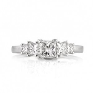 Three Stone Princess Cut Diamond Engagement Ring | Mark Broumand