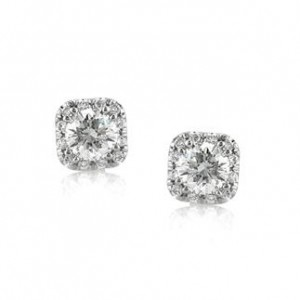 1.00ct Round Brilliant Cut Diamond Cushion Halo Stud Earrings | Mark Broumand