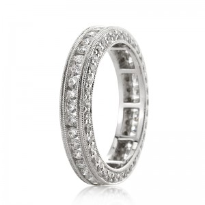 1.75ct Round Brilliant Cut Diamond Eternity Band Angled View | Mark Broumand