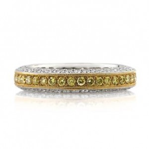 2.00ct Fancy Yellow Round Brilliant Cut Diamond Eternity Band | Mark Broumand