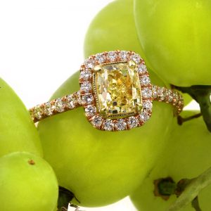 1.88 fancy vivid yellow cushion cut diamond engagement ring | Mark Broumand