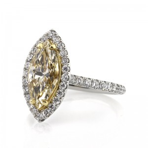 3.01ct Fancy Yellow Marquise Cut Diamond Engagement Ring Angled View | Mark Broumand