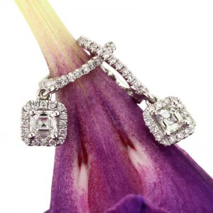 0.90ct Asscher Cut Diamond Dangle Earrings | Mark Broumand