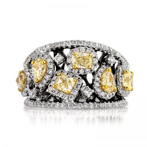 2.03ct Fancy Yellow and White Diamond Right-Hand Ring | Mark Broumand