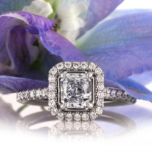1.57ct Fancy Light Blue Radiant Cut Diamond Engagement Ring | Mark Broumand