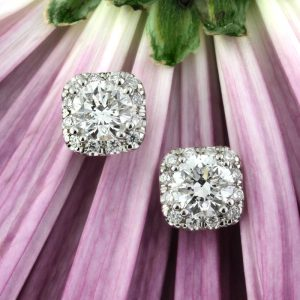1.00ct round brilliant cut diamond halo stud earrings | Mark Broumand